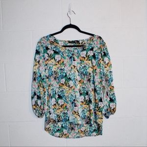 Halogen | Silky Tropical Print Blouse